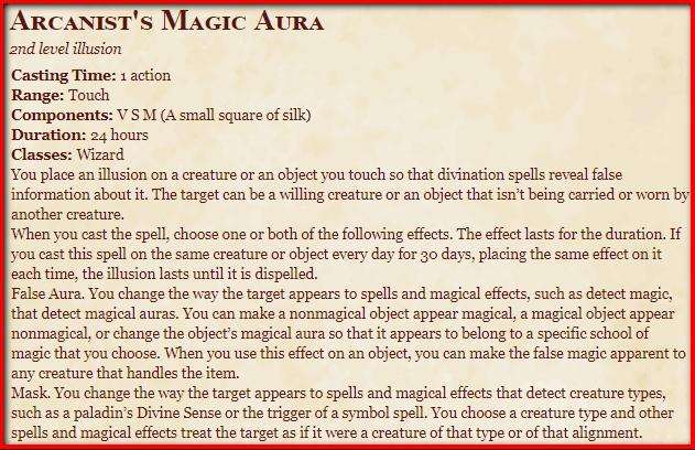 Arcanist's Magic Aura 5e