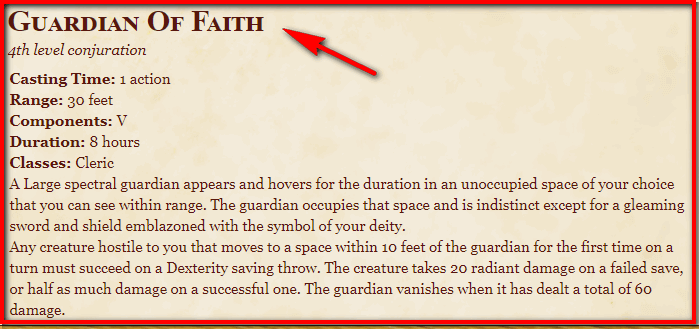 Guardian Of Faith 5e
