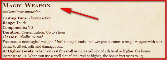 Magic Weapon 5e
