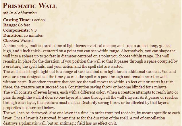Prismatic Wall 5e