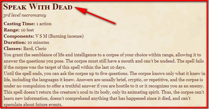 Speak with Dead 5e