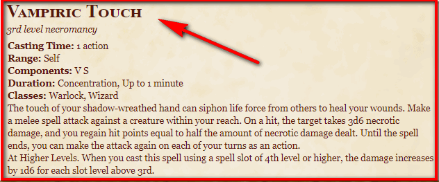 Vampiric Touch 5e