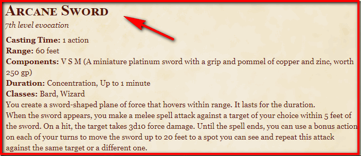 Arcane Sword 5e