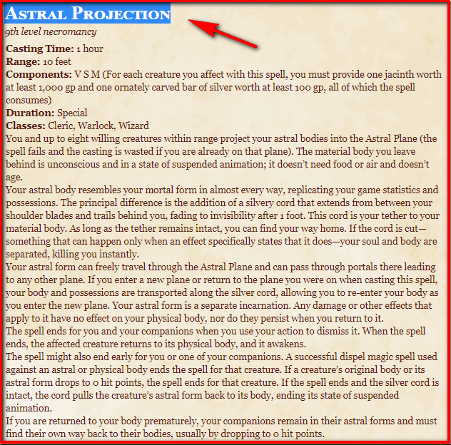 Astral Projection 5e