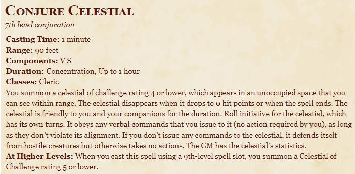 Conjure Celestial 5e