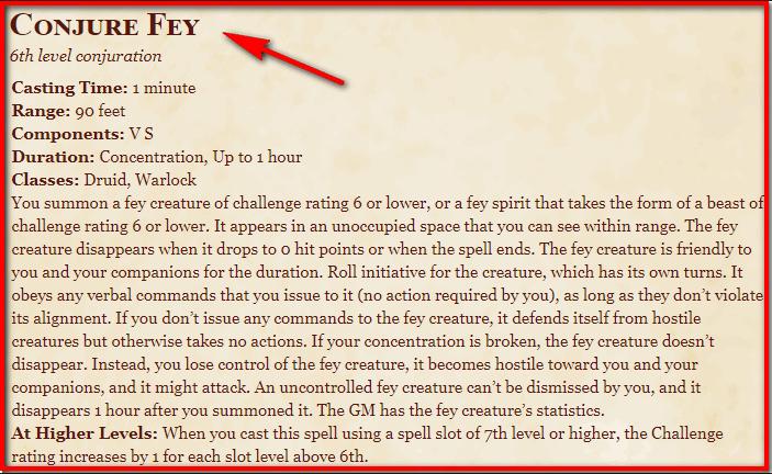 Conjure Fey 5e