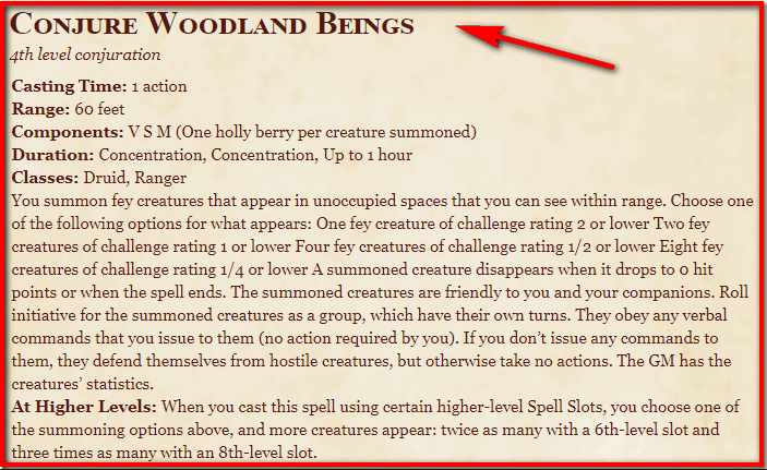 Conjure Woodland Beings 5e
