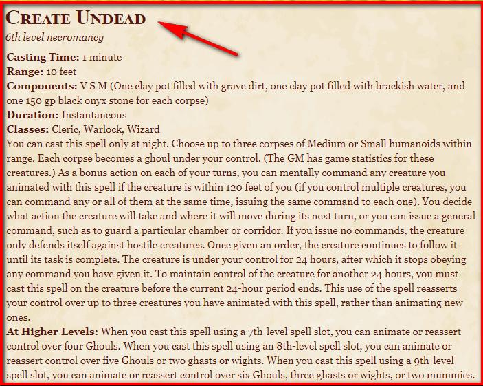 Create Undead 5e