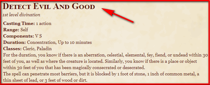 Detect Evil and Good 5e