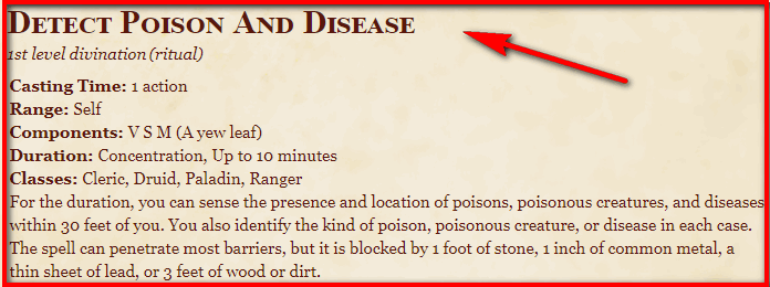 Detect Poison And Disease 5e