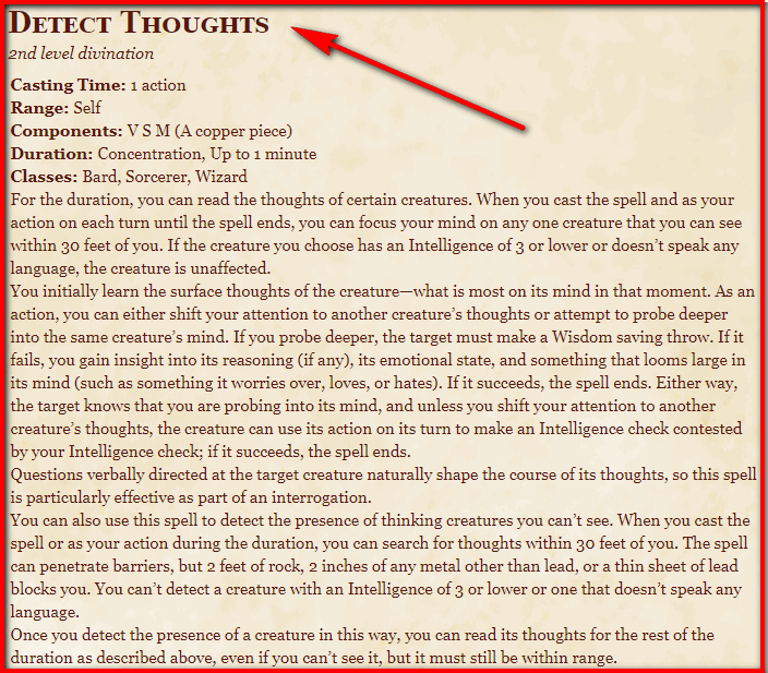 Detect Thoughts 5e