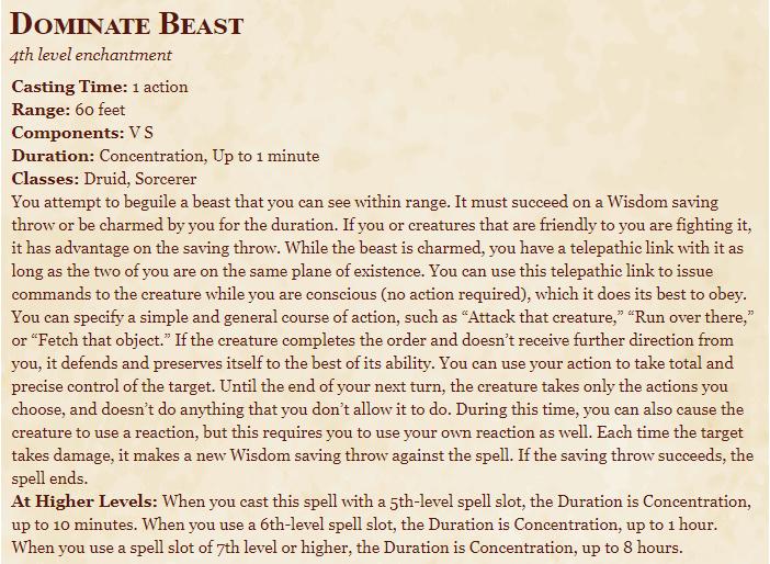 Dominate Beast 5e