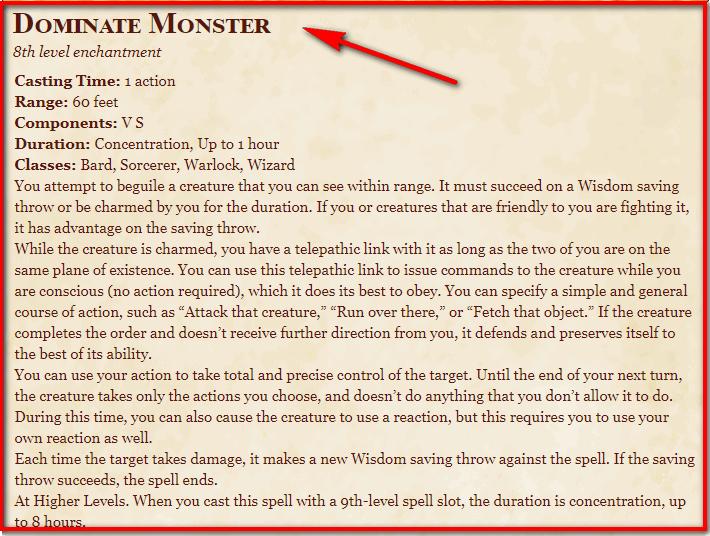 Dominate Monster 5e