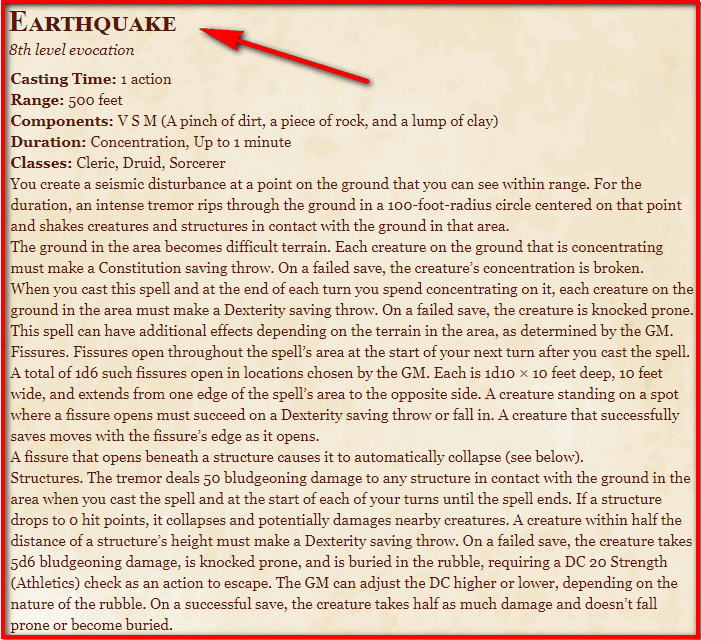 Earthquake 5e