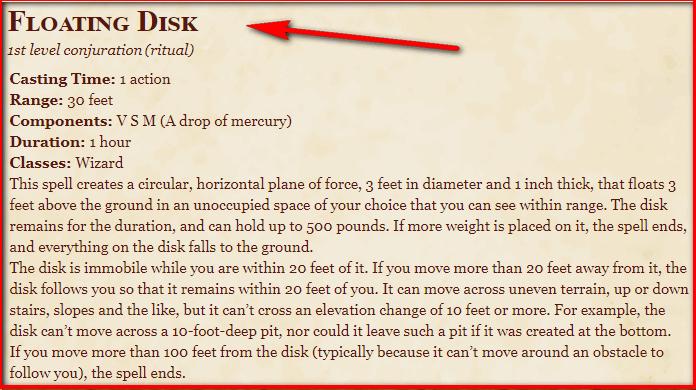 Floating Disk 5e