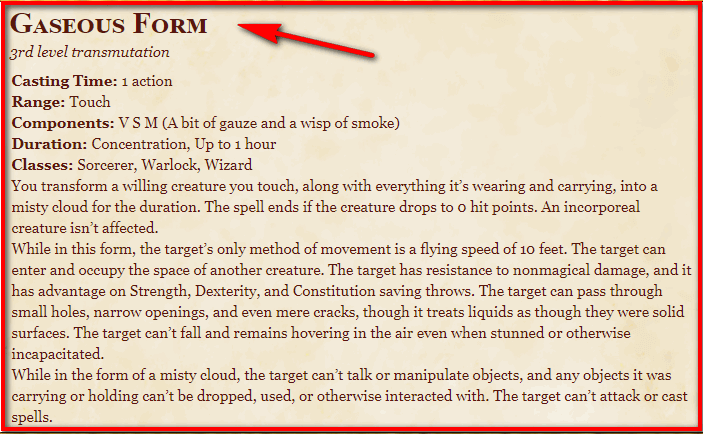 Gaseous Form 5e