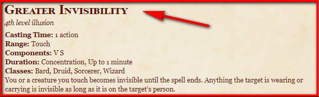 Greater Invisibility 5e