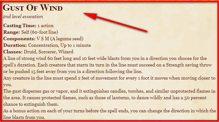 Gust of Wind 5e