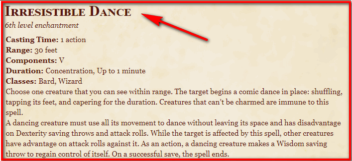 Irresistible Dance 5e