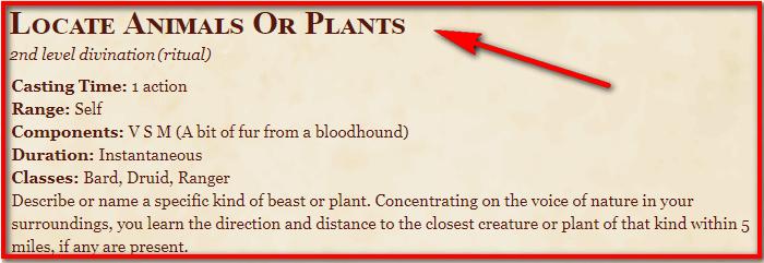 Locate Animals or Plants 5e