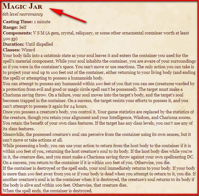 Magic Jar 5e