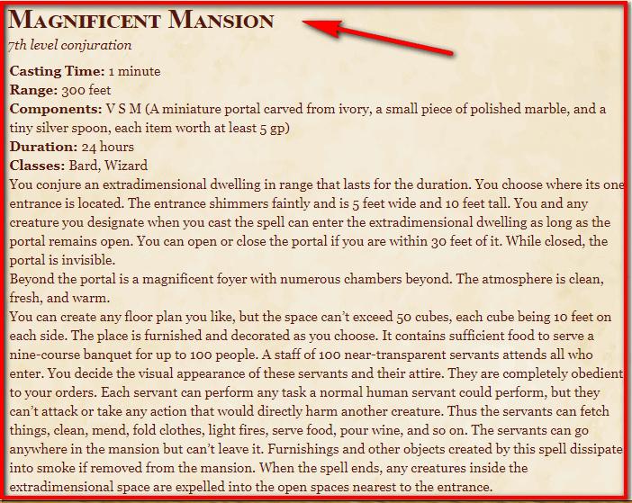 Magnificent Mansion 5e