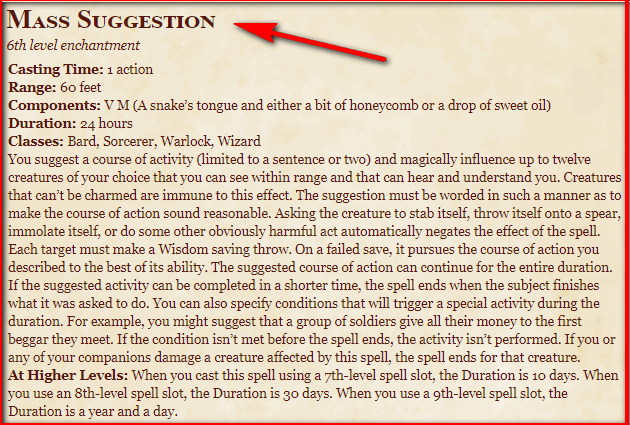 Mass Suggestion 5e