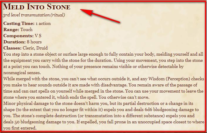 Meld into Stone 5e