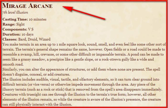 Mirage Arcane 5e