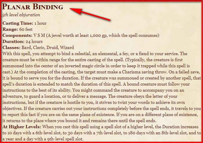 Planar Binding 5e