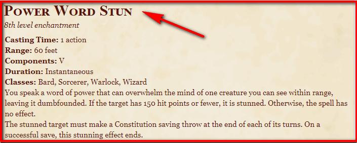 Power Word Stun 5e