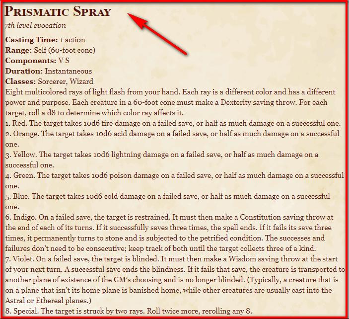 Prismatic Spray 5e