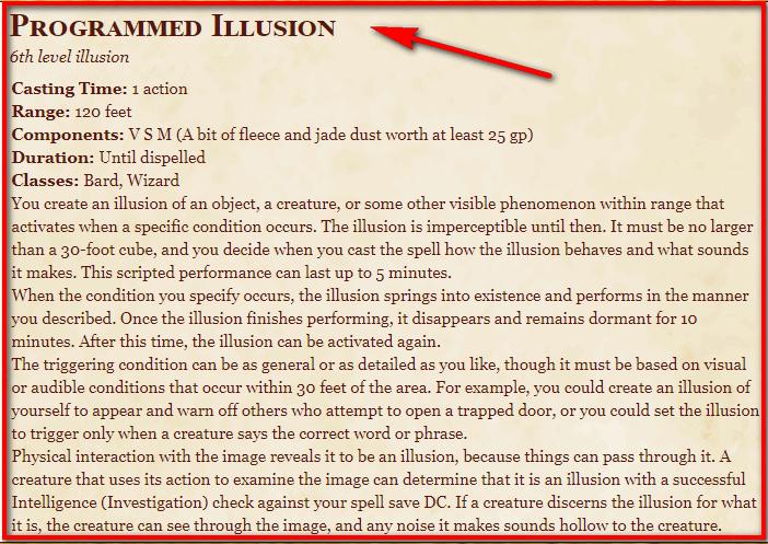 Programmed Illusion 5e