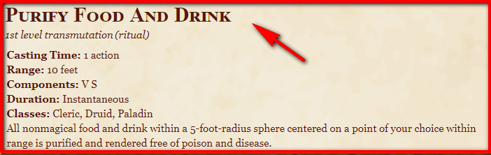 Purify Food and Drink 5e