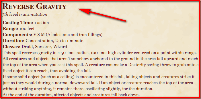 Reverse Gravity 5e