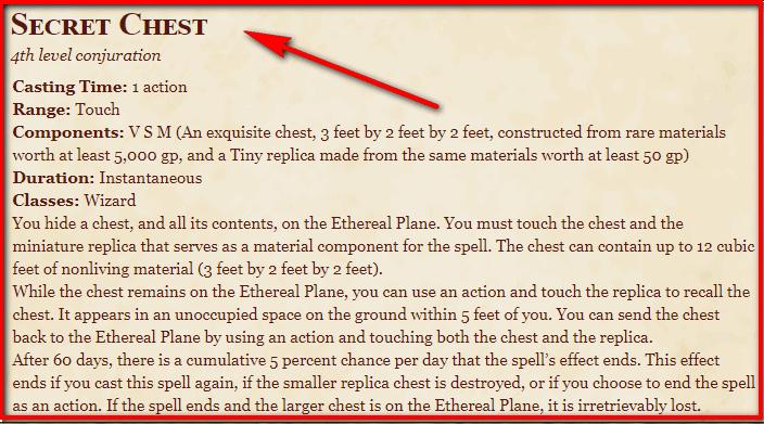 Secret Chest 5e