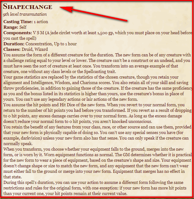 Shapechange 5e