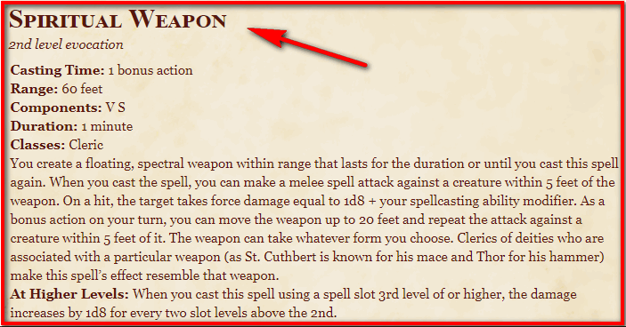 Spiritual Weapon 5e