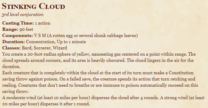 Stinking Cloud 5e