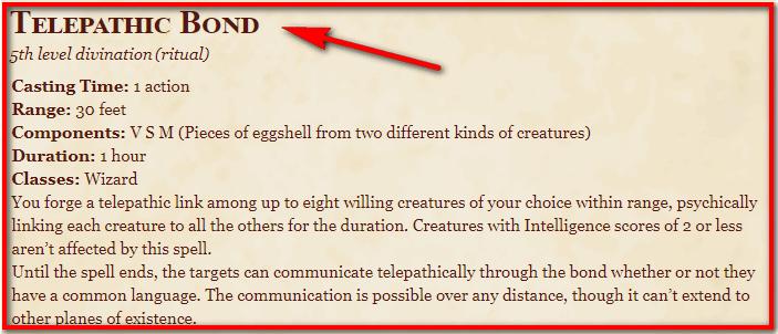Telepathic Bond 5e