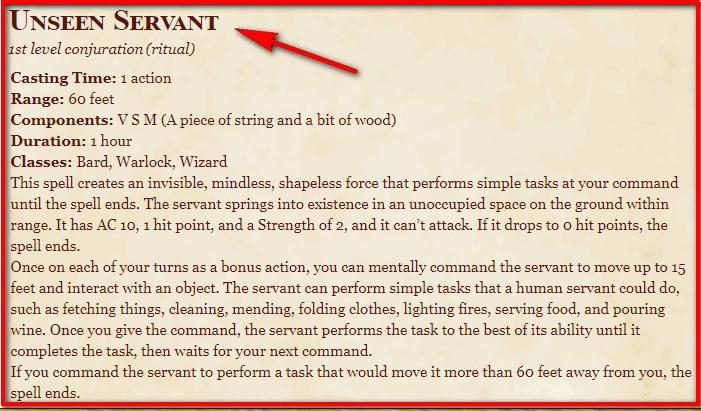 Unseen Servant 5e