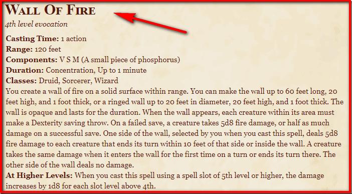 Wall of Fire 5e