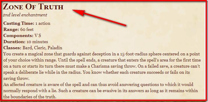 Zone of Truth 5e