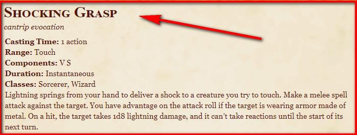 Shocking Grasp 5e