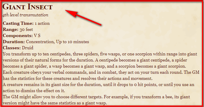 Giant Insect 5e
